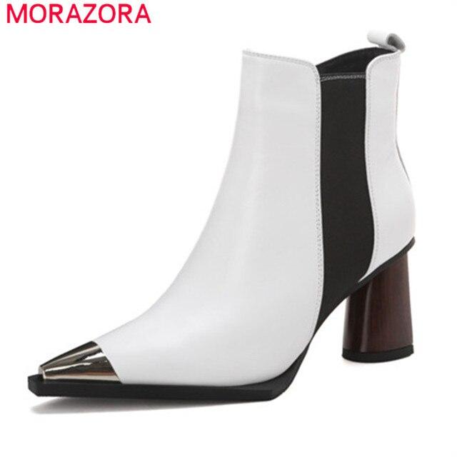 MORAZORA 2020 ใหม่มาถึงผู้หญิงรองเท้าข้อเท้าสูงรองเท้าหนังแท้หัวโลหะToe Zipฤดูใบไม้ร่วงฤดูหนาวbootiesหญิง