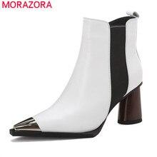 MORAZORA 2020 yeni varış kadın yarım çizmeler yüksek topuklu hakiki deri ayakkabı Metal kafa toe zip sonbahar kış patik kadın