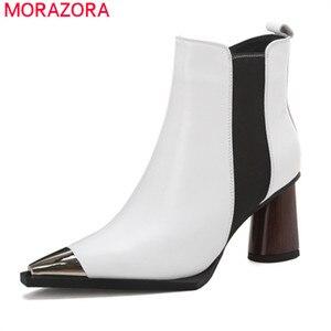Image 1 - MORAZORA/Новое поступление 2020 года; Женские ботильоны на высоком каблуке; Обувь из натуральной кожи с металлическим носком на молнии; Сезон осень зима; Женские ботиночки