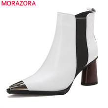 Morazora 2020 Nieuwe Aankomst Vrouwen Enkellaars Hoge Hakken Echt Lederen Schoenen Metalen Hoofd Teen Zip Herfst Winter Booties Vrouwelijke