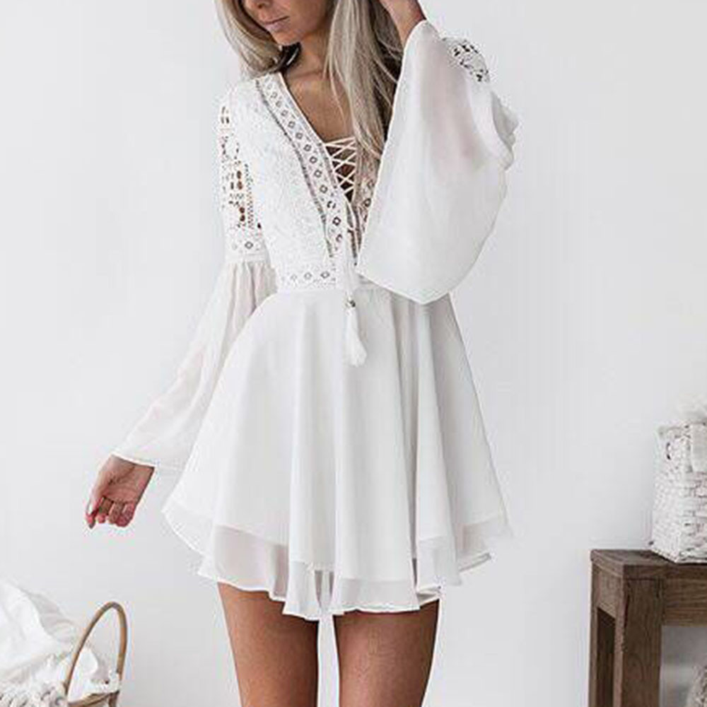 Hollow Out White Dress Sexy Women Mini Chiffon Dress Criss Cross Semi-sheer Plunge V-Neck Long Sleeve Crochet Lace Dress 2021