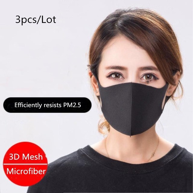 3pcs/Lot Microfiber PM2.5 Mask Anti Dust Activated Carbon Filter Windproof Bacteria Proof Flu Face Masks Care Reusable Washable