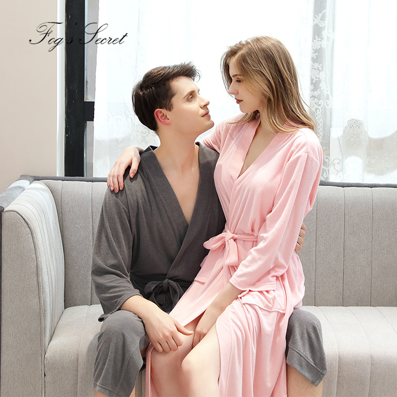 Women Bathrobe Couple Autumn Winter Waffle Thin Yukata For Men Absorbent Quick-drying Pajamas Homewear Nightgown Roupao Feminino