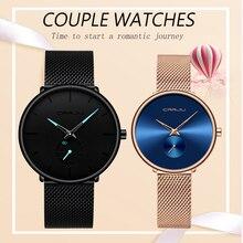 Couple Watches CRRJU Top Brand Stainless Steel Quartz Wrist