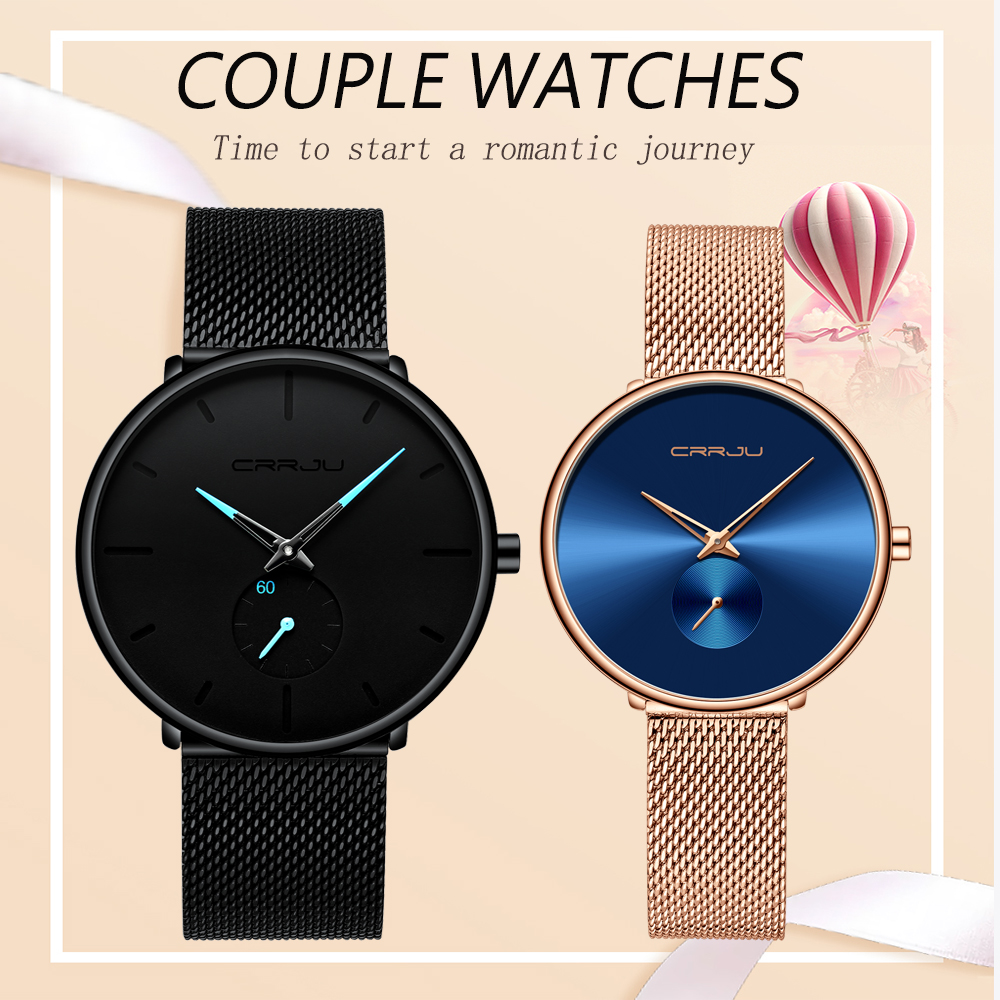 Couple Watches CRRJU Top Brand Stainless Steel Quartz Wrist Watch For Men And Women Fashion Casual Clock Gifts Set For Sale