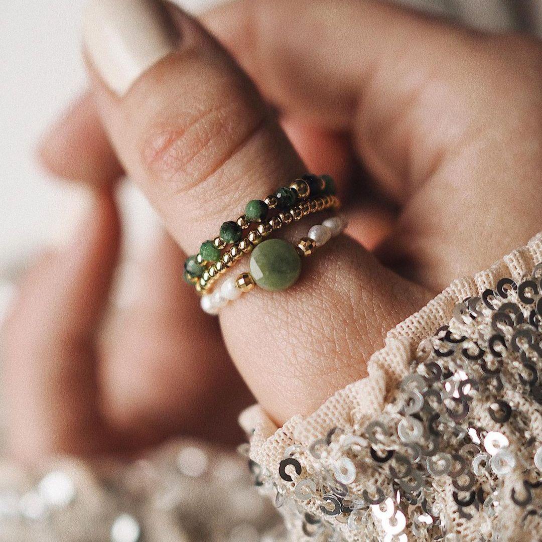 Кольцо Taiyu женское из натурального камня, стильный комплект из кольца с пресноводным жемчугом и бусинами из нержавеющей стали зеленого цвет...