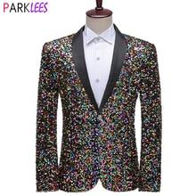 Suit Jacket Blazer Men Sequin Wedding-Stage-Singers Mens Prom-Costume Shiny Colorful