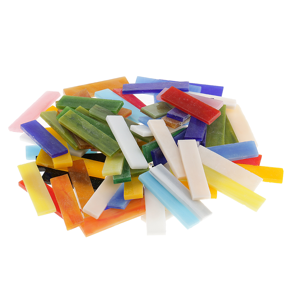70 Pieces Rectangle Shape Assorted Colors Glass Pieces Mosaic Tiles Tessera For Arts DIY Craft 10x40mm