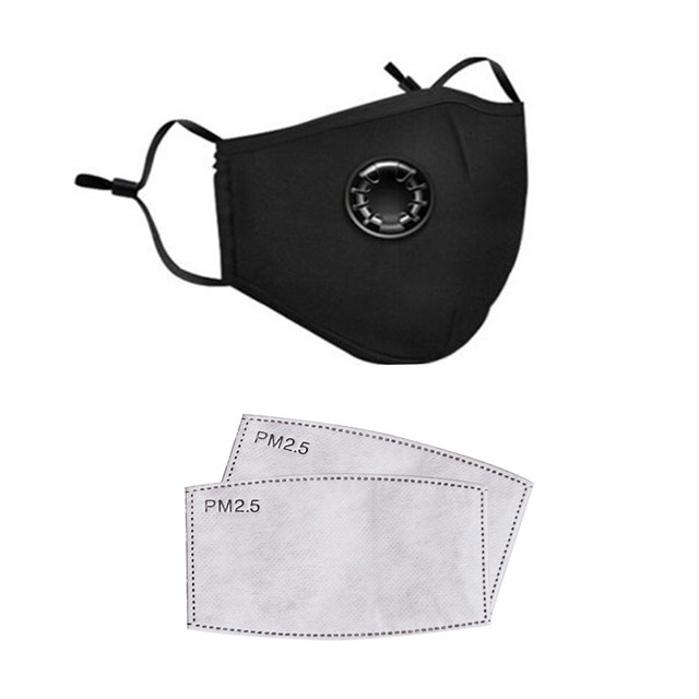 PM2.5 Mask Filter Towel Unisex Cotton Breath Valve PM2.5 Mouth Mask Anti-Dust Mask Activated Carbon Filter Respirator 4