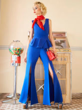 Frauen Sexy Overall Sommer Elegante Flare Hosen Blau Fashion Schlank Bellbottoms Backless Patchwork Rüschen Weibliche Büro Strampler(China)