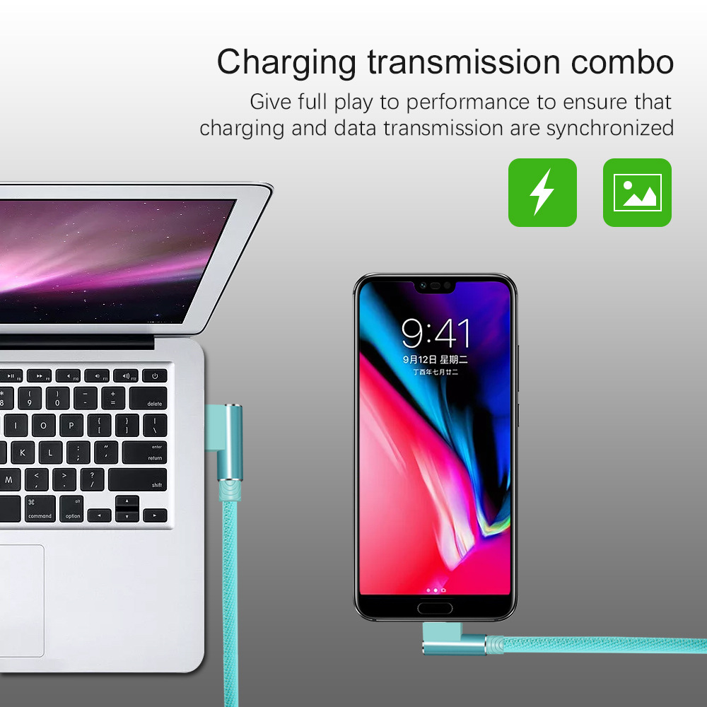 Micro USB Cable For Phone Charging Cord 90 Degree Elbow 2.4A Fast USB Type C Wire For Iphone 7 6S Android Samsung Phone(7)