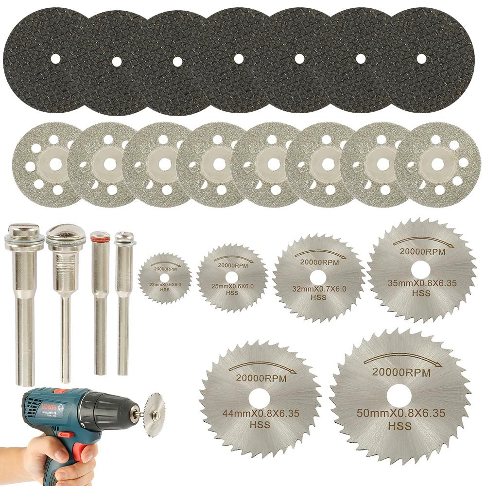 32pcs HSS Mini Circular Saw Blade Set Resin Cut-Off Wheels Disc Diamond Cutting Blade Metal Cutter Power Tool For Dremel Drill