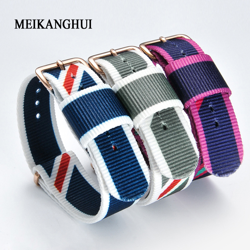 14  18  20mm Watchband Army Sports Fabric Nylon Watch Band Accessories Bands Buckle Belt Watch Strap