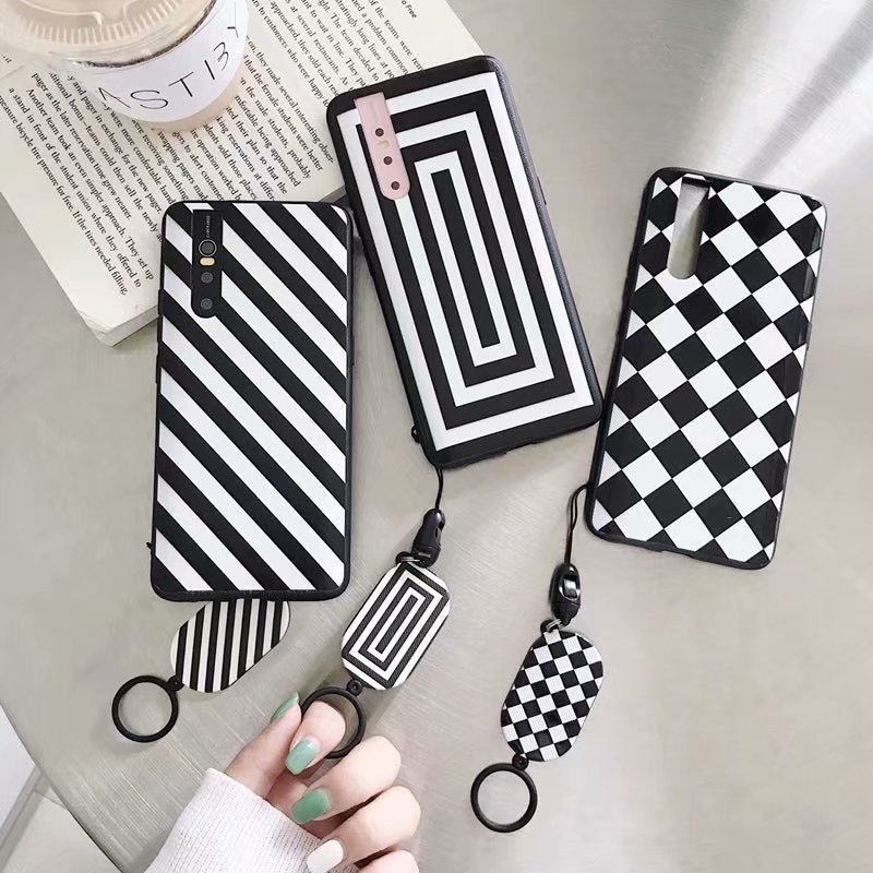 Fashion Black and White Lanyard Phone Case for Huawei P20 P30 Mate 20 30 Pro Lite Honor 8X 9X V 10 Geometric Striped Cover image