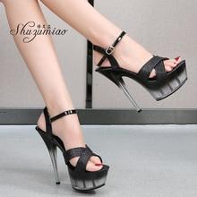 Shuzumiao wedding shoes bride 15 17 CM High Heels Sexy Platform Sandals Girls Shoe for Party Club Pole Dancing shine Women Shoes