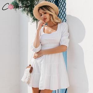 Image 2 - Conmoto Vestido corto informal de mujer, Vestido corto blanco con cuello cuadrado Vintage y cintura alta para playa y vacaciones, minivestido de señora con mangas abullonadas