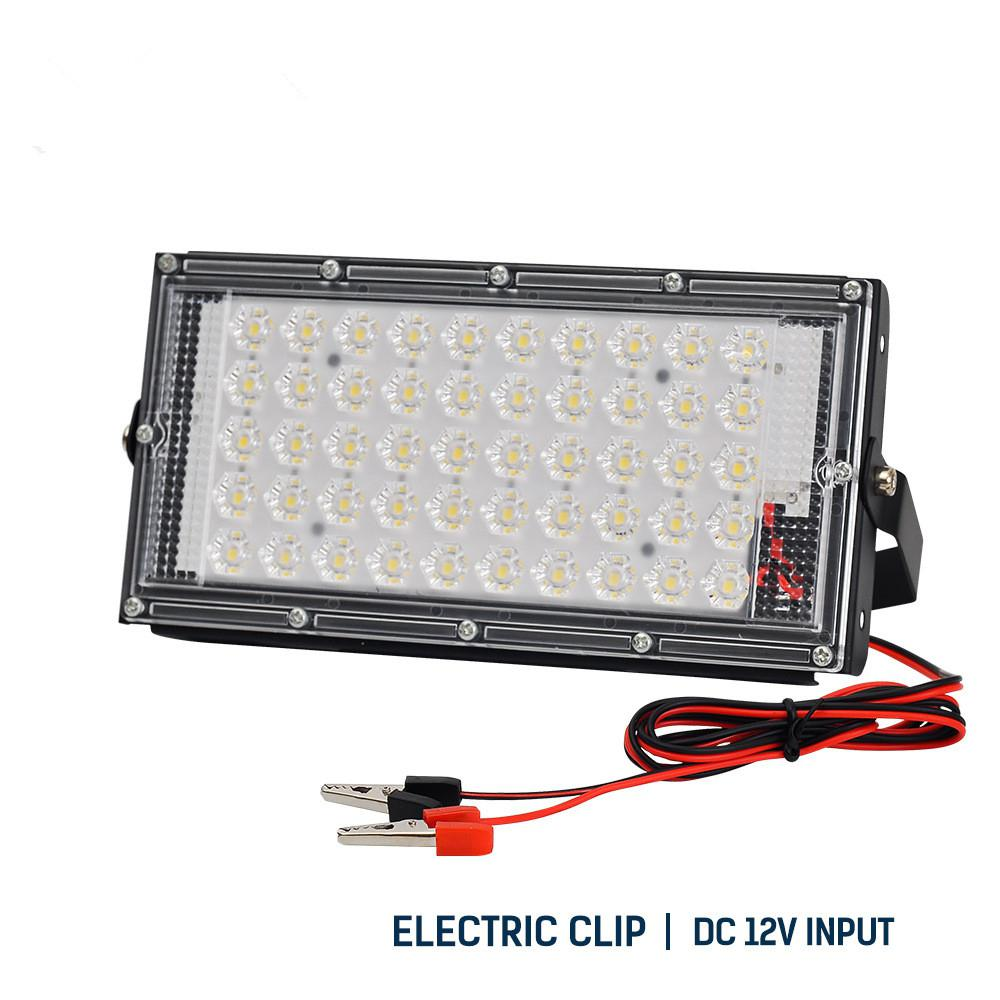 Crocodile Clip Led Flood Lights 50W DC12V LED Outdoor Lighting Spotlights Camping Lamp Industry Light Night Market Sporting Lamp
