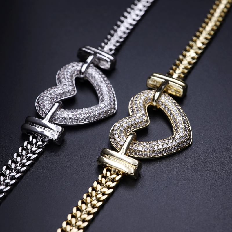 Top SaleJewelry-Sets Necklace-Bracelets Pendant Heart-Shape Gold-Color Cubic-Zirconia Luxury