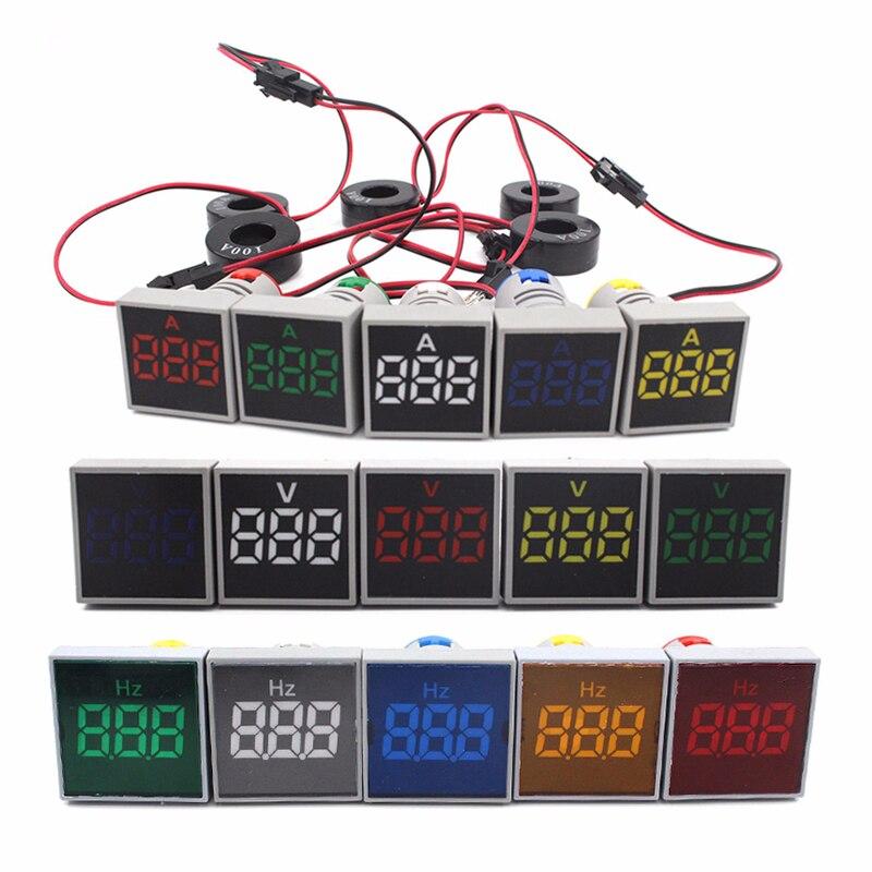 LED Digital AC Voltmeter Ammeter Display Square Panel Ampere Voltage Current Frequency Meter Indicator Signal Lamp Warning Light