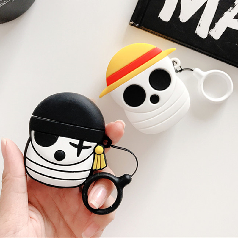 Cute Cartoon ONE PIECE Earphone Case For Airpods 1 2 Soft Silicone Case For Apple Air Pods 1 2 Cover Case Funda With Ring Buckle