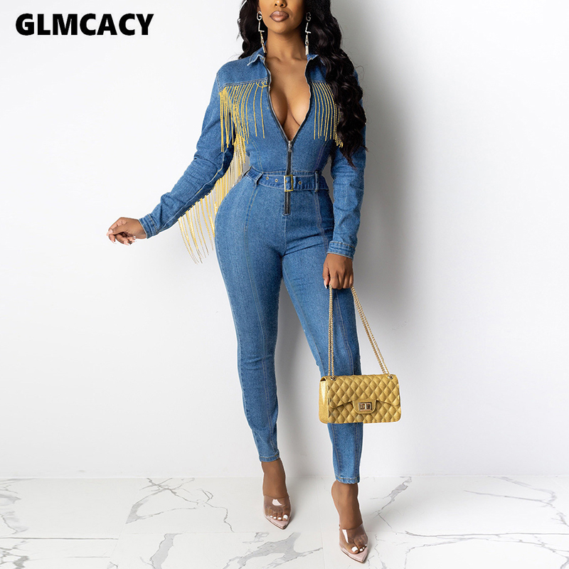Women Plus Size Tassel Design Long Sleeve Bodycon Skinny Denim Jumpsuit Slim Fit Female Stretch Spring Fall Overall