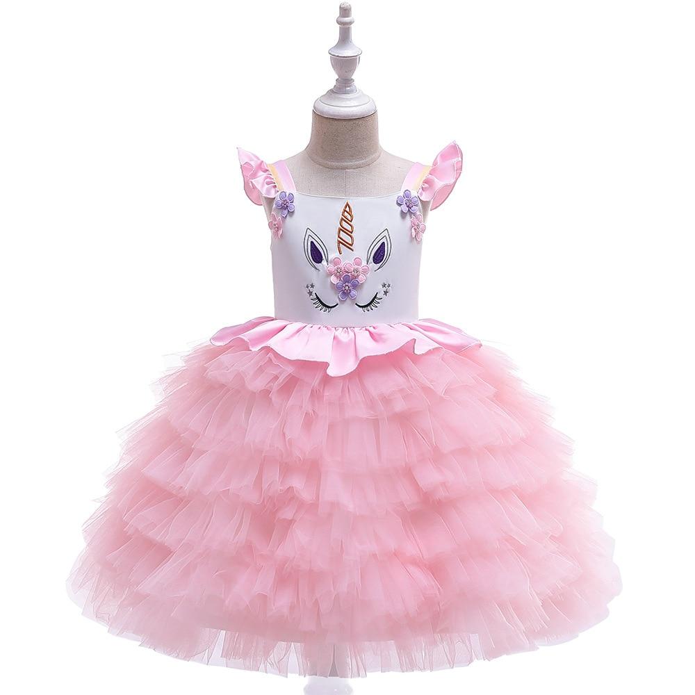 New Style GIRL'S Gown INS Unicorn Costume Girls Cake Dress Children Dress