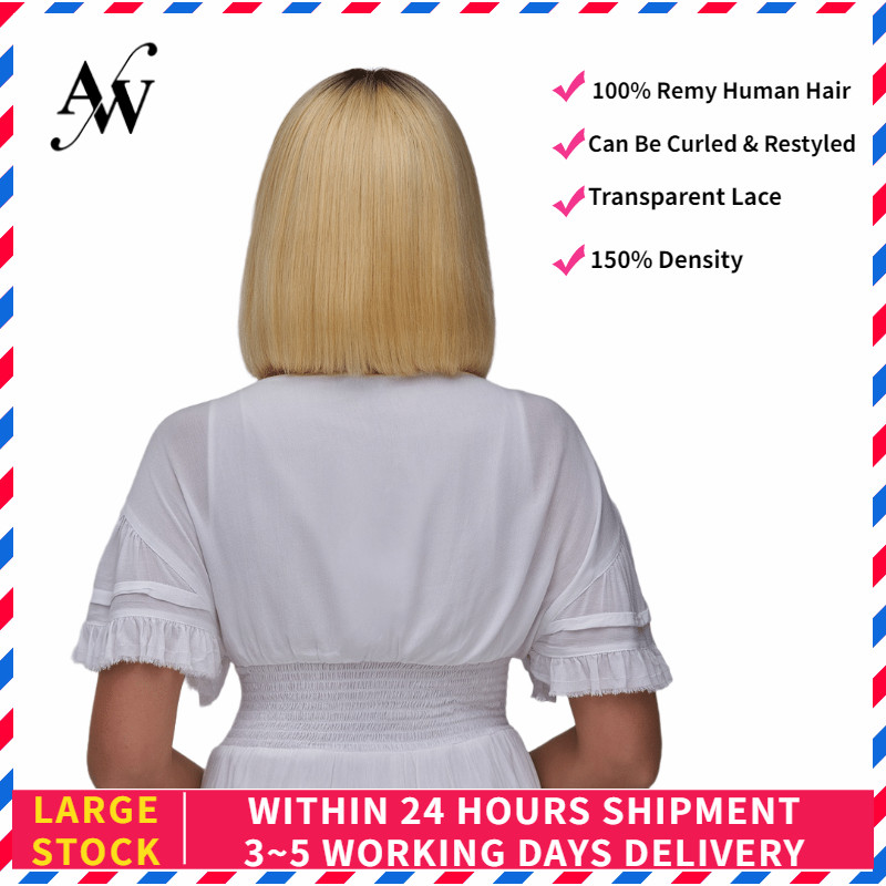 AW 10'' 12'' T-613 Short Bob Lace Front Wig 150% Density Transparent Pre Plucked Hairline Straight Remy Human Hair Wig For Women