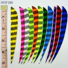 24 PCS ONTFIHS 5inch Arrow Fletches Striped Fletching  Water Drop Feathers Drop Arrows Feather Archery Accessories 36 pcs ontfihs new 2 5inch archery fletches feather parabolic stripe plume turkey feathers arrow fletching for hunting shooting