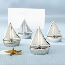 1pc Sail Boat Silver Beach Theme Place Card Holders Wedding Party Decor Wedding Picture Name Frame Table Number Cards Clips(China)