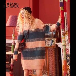 Image 2 - ELFSACK ירוק פסים Colorblock לסרוג ישר שמלת נשים 2020 חורף ורוד ארוך שרוול רופף מזדמן משרד גבירותיי שמלות יומי