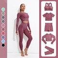 Женский тренировочный костюм, бесшовный комплект для йоги, спортивный бюстгальтер и леггинсы, тканевый костюм для фитнеса и тренировок, тре...