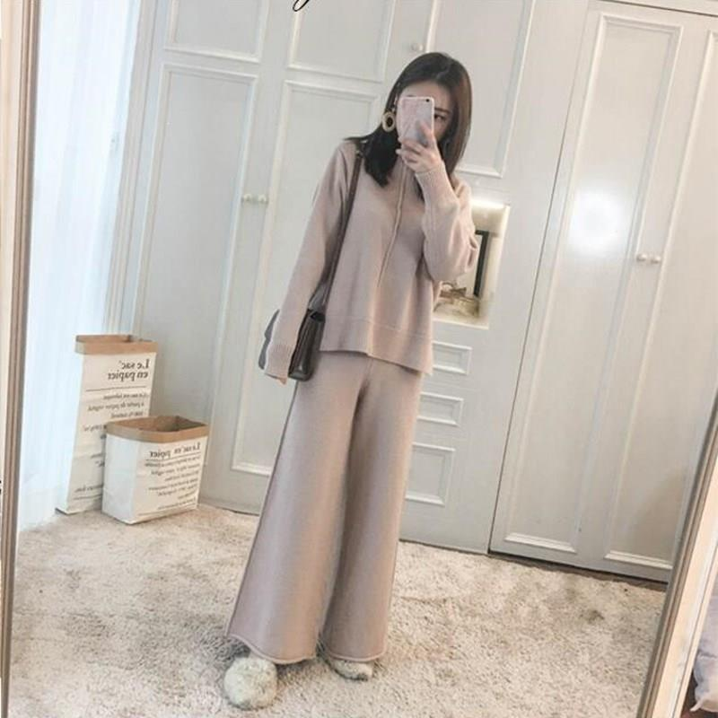 Winter Tracksuit 2 Piece Pant Suits Korean Women Knitted Long Sleeve Two Piece Set Top And Pants Women Suit