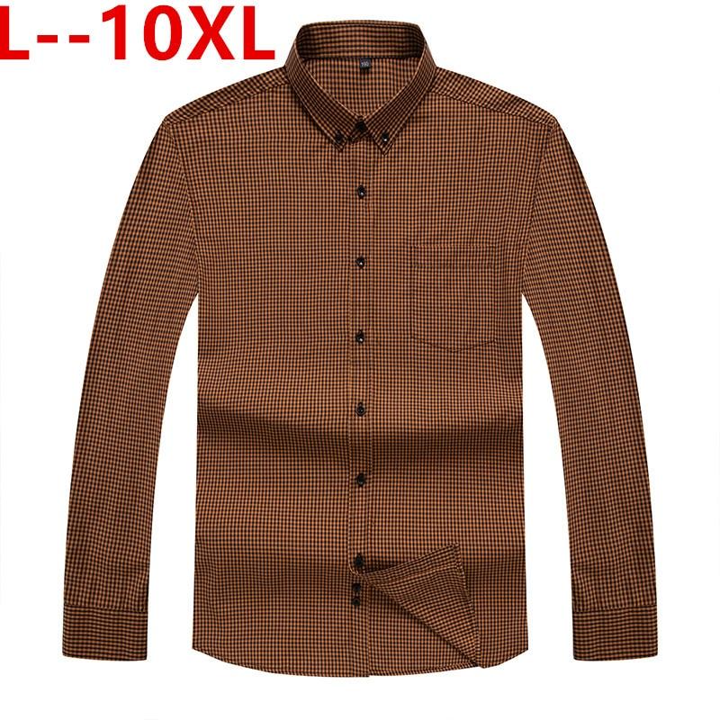 10XL 8XL 6XL chemise à carreaux Oxford à carreaux avec poche poitrine Smart décontracté classique contraste Slim fit manches longues