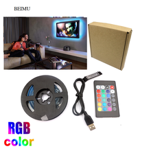 3.3FT RGB USB LED Strip Light 5050 USB Tira LED 5V Flexible Neon RGB Tape Fita Led Lights TV Backlight Background Lighting 5v rgb led strip 5050 2835 tira led usb ribbon rgb backlight tape for computer tv fita led stripe flexible neon light warm white