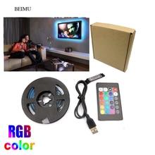 3.3FT RGB USB LED Strip Light 5050 USB Tira LED 5V Flexible Neon RGB Tape Fita Led Lights TV Backlight Background Lighting(China)