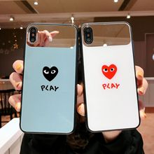 Toughened Glass Couple Phone Cases For iPhone 6 6S 7 8 X XR XS MAX Cute Lovely