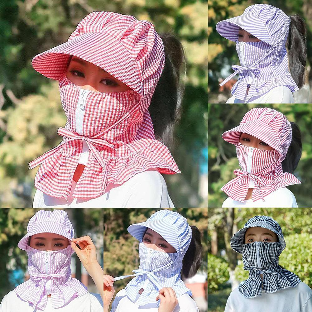 Women Plaid Dustproof Sun Protection Full Face Neck Cover Summer Riding Hat Cap Protection Bucket Hat Neck Gaiter Mask