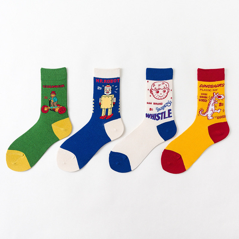 SP&CITY 4 Pairs Harajuku Women Funny Patterned Cartoon Socks Cotton Ankle Colored Unisex Skateboard Casual Student Cool Sox