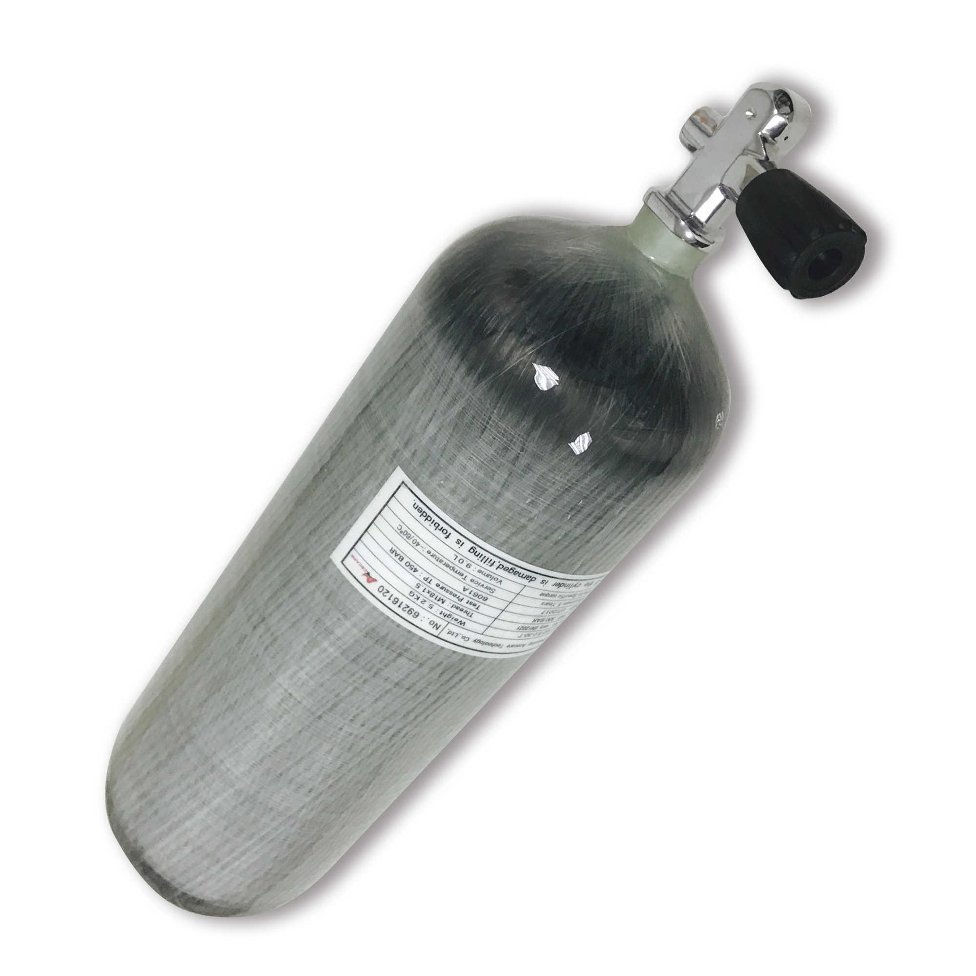 Acecare Tangki Scuba 9L CE HPa Serat Karbon Silinder untuk Menyelam 4500psi Udara Tangki PCP Silinder PCP Valve M18 * 1.5
