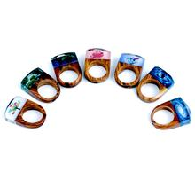 Dropship  vestone New Fashion Printed Resin Wooden Magic forest Rings Epoxy Wedding Jewelry Love Ring for Women