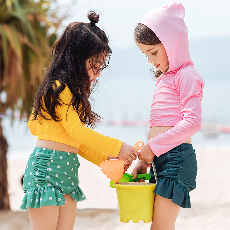 Japanese Korean New Style CHILDREN'S Swimwear Split Two Piece Set Bathing Suit Hooded Long Sleeve Shorts Flounced Hot Springs Pl