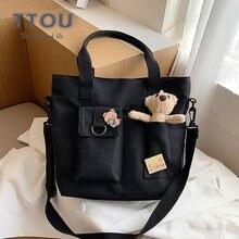 Простая стильная женская сумка на плечо высококачественные холщовые