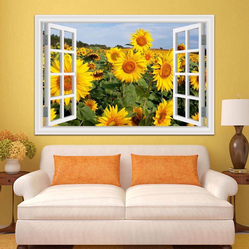 Wall Decor Living Room Decoration Kitchen Fake Window Stickers Sunflower Snowscape 3d View Poster Art Aliexpress