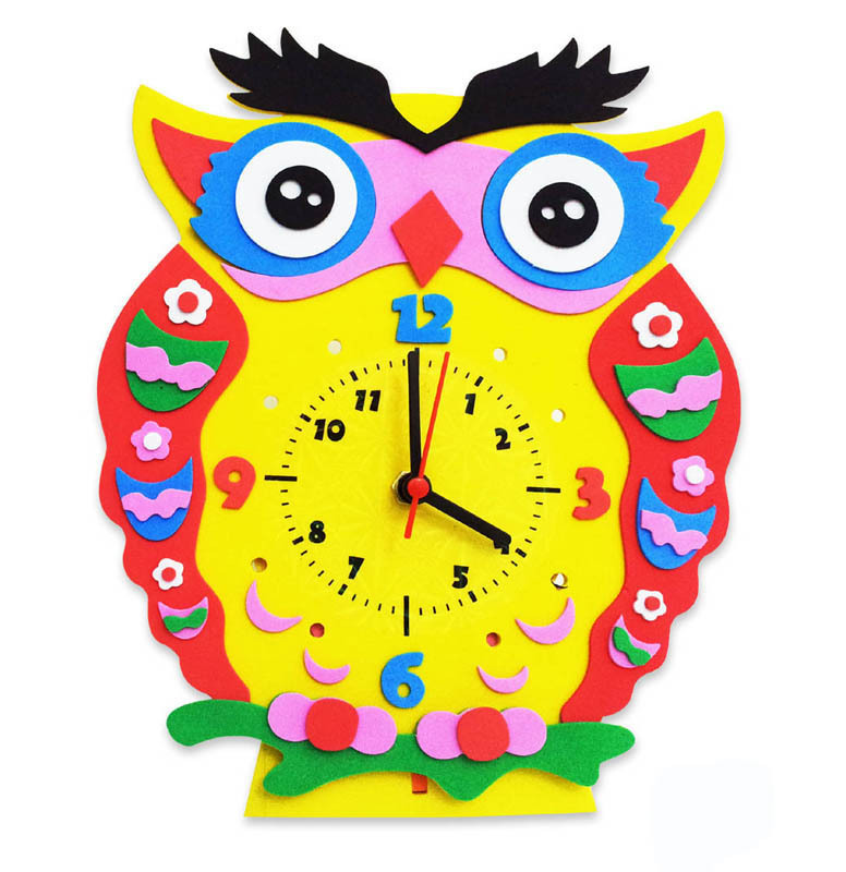 Arts Crafts Diy Toys Cartoon EVA Clock Crafts Kids Kindergarten Puzzles Educational Toys For Children Boy Girl Handmade Material