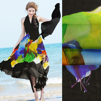 SASKIA 128*135CM One Positioning Printing 100%Pure Natural Mulberry Silk Chiffon Digital Flower Fabric Material Sew Dress 8MM