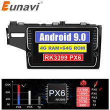 "Eunavi 2 din 9"" Android 9 Car Multimedia Auto Radio Stereo For 2014 2015 HONDA JAZZ FIT Right Hand Drive GPS 4G+64G no dvd bt(China)"