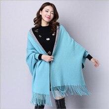 Женский Зимний вязаный свитер с v-образным вырезом, свободный шерстяной Теплый кардиган, женский свитер