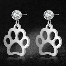 AAAAA Quality 100% Stainless Steel Dog Cat Paw Charm Drop Earring for Women Wedding Party Dangle Earrings Jewelry(China)