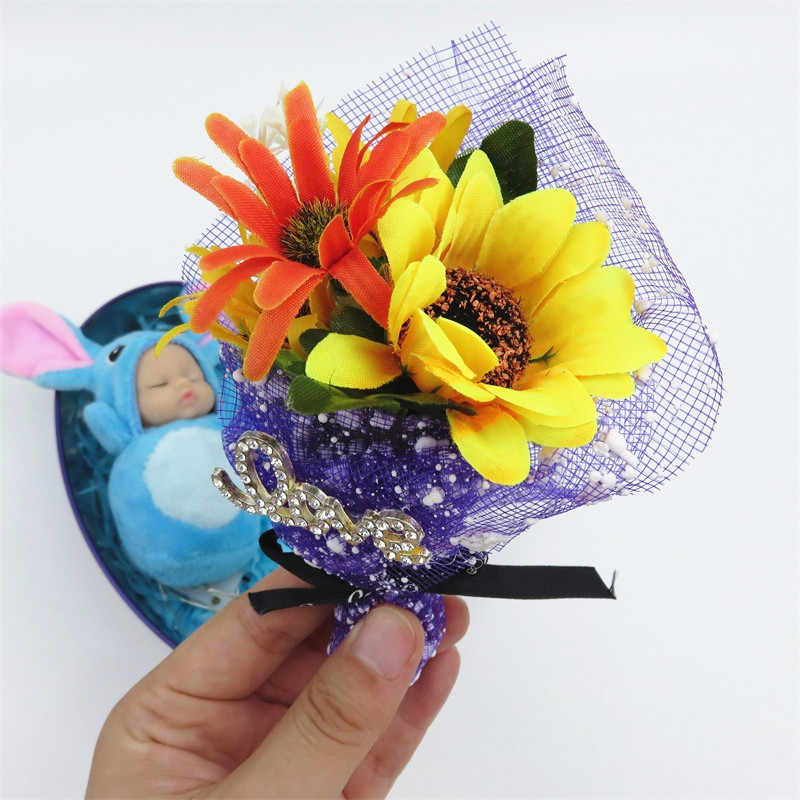 Small artificial flowers with stitch sleep baby plush LED light gift box home decoration Creative Valentine's Day Wedding gifts
