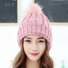Color Mixing Wool Hat Thickening Keep Warm Winter Hats Woman Tide Ma'am Colour Pullover Knitting Hat все цены